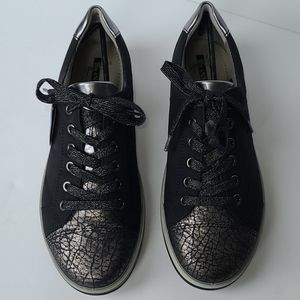 Black Leather Casual Comfort Sneaker Jenny by ARA
